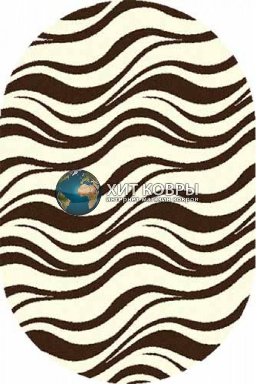 Российский ковер  овальный Comfort шегги s609 кремовый коричневый