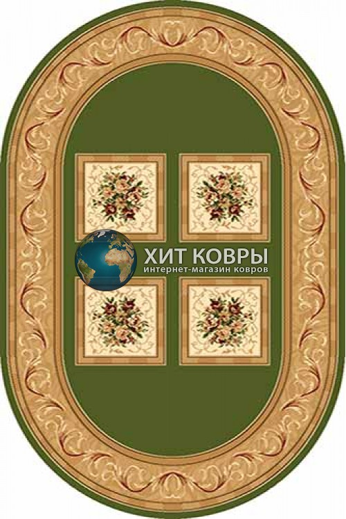 Российский ковер  овальный Olympos d065 зеленый