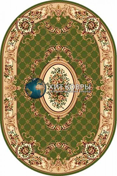 Российский ковер  овальный Olympos d075 зеленый